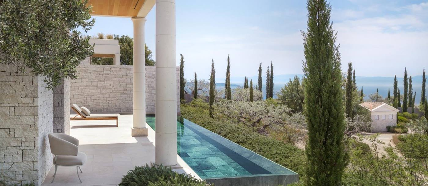 Private pool of a Pavilion overlooking the Aegan Sea at Amanzoe