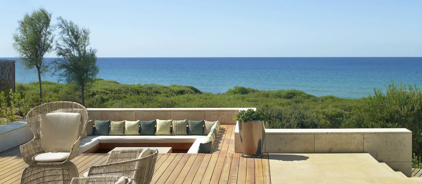 View from the Koroni Royal Villa with private swimming pool at Costa Navarino, Greece