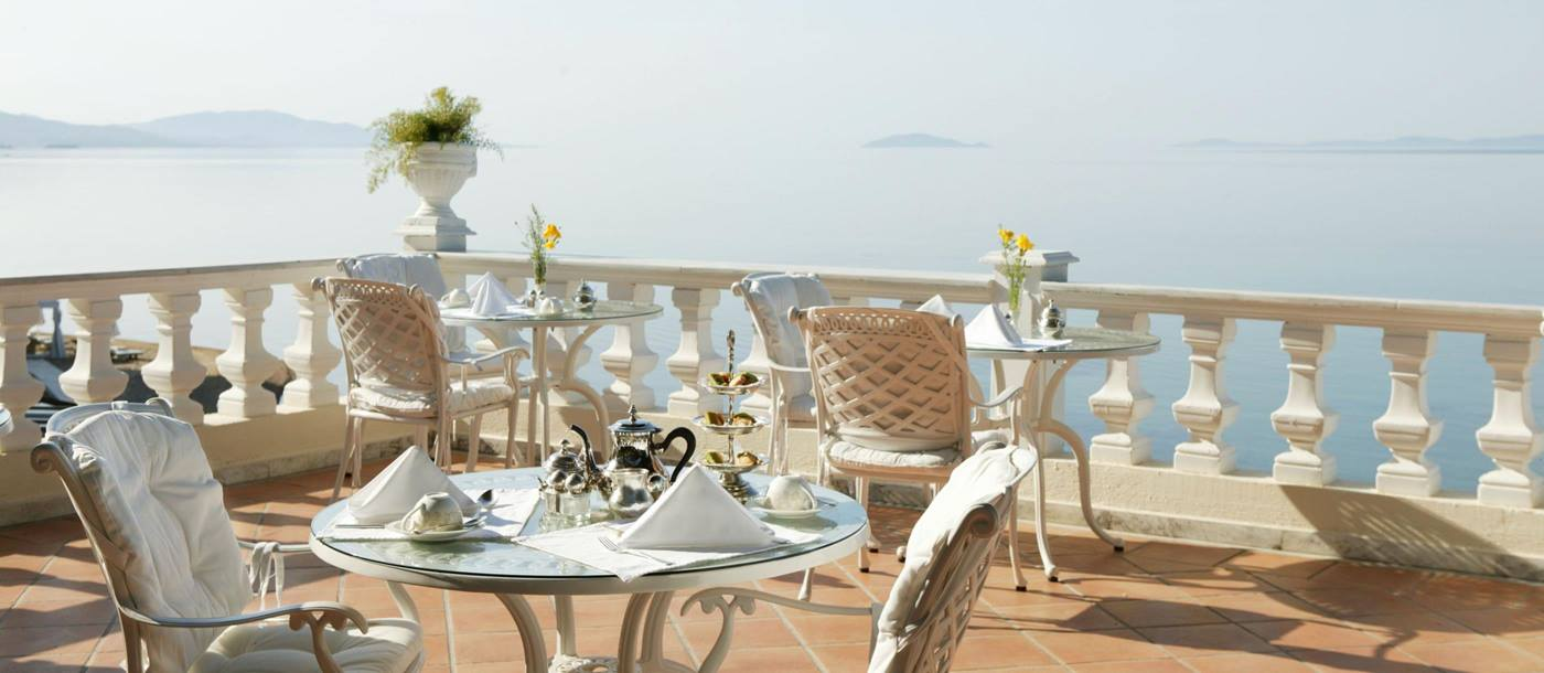 breakfast served at the terrace with sea view from Danai Beach Resort Villas, Greece