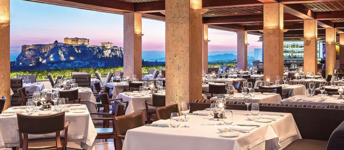 Rooftop restaurant at Grand Bretagne in Greece