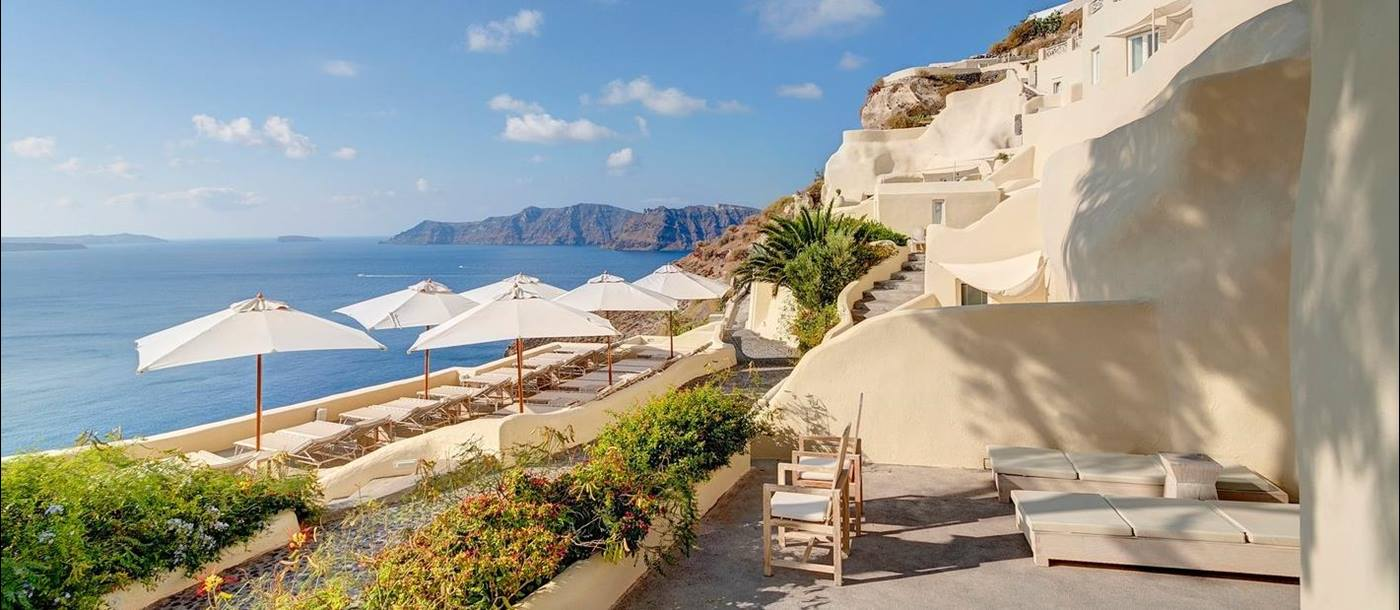 View from terrace at Mystique in Santorini Greece
