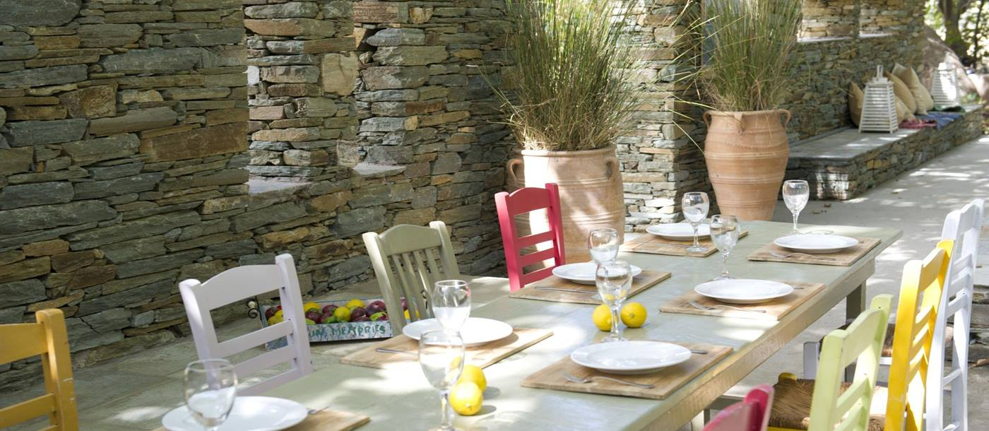 Outdoor dining at Onar Andros, Greece