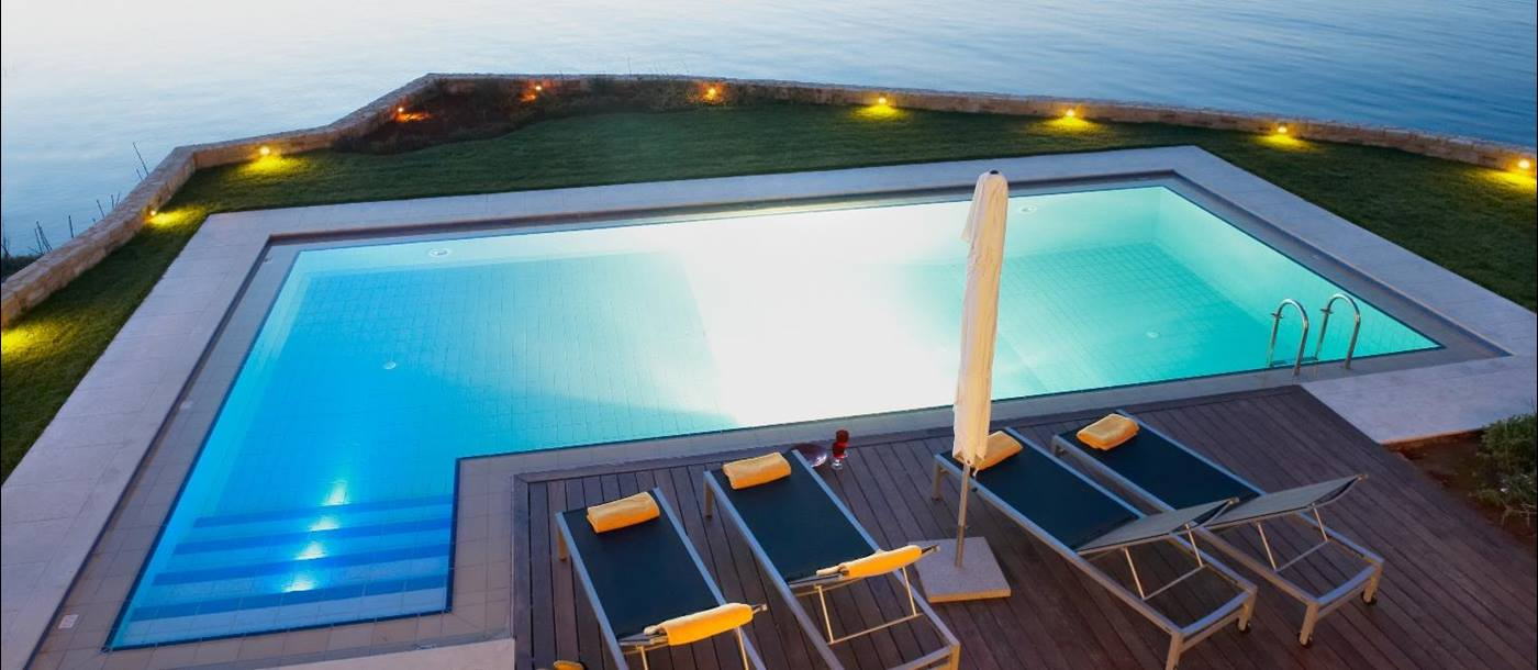 The pool and view at Almyra Residence