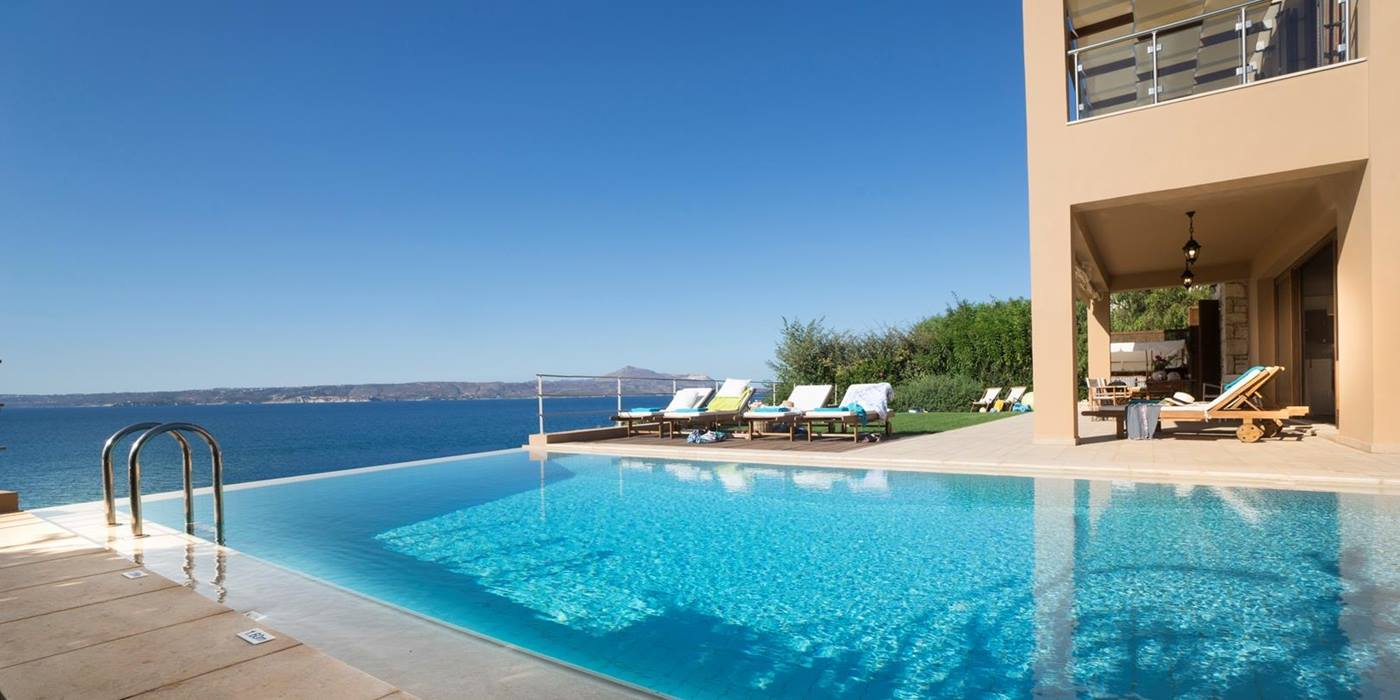 Pool andview to islands at Villa Anemos