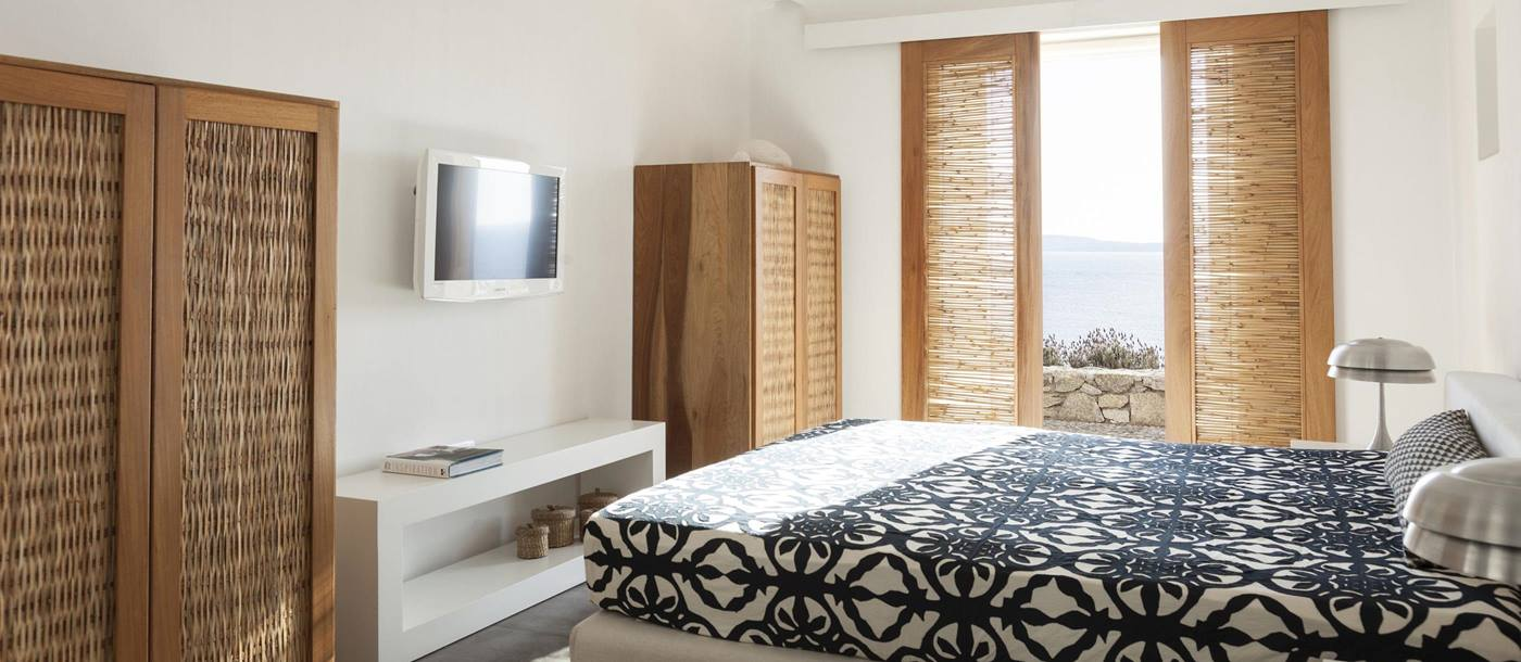 double bedroom with view at Apollonia, Mykonos, Greece
