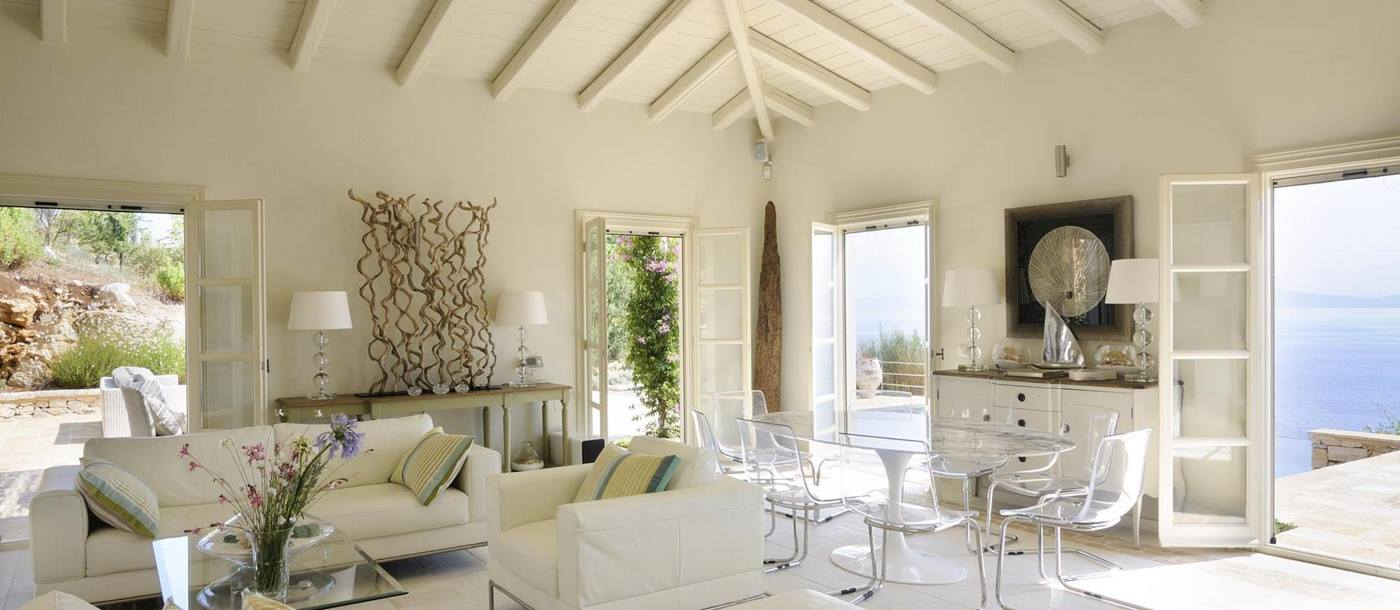 The living area in Atolikos House in Corfu, Greece