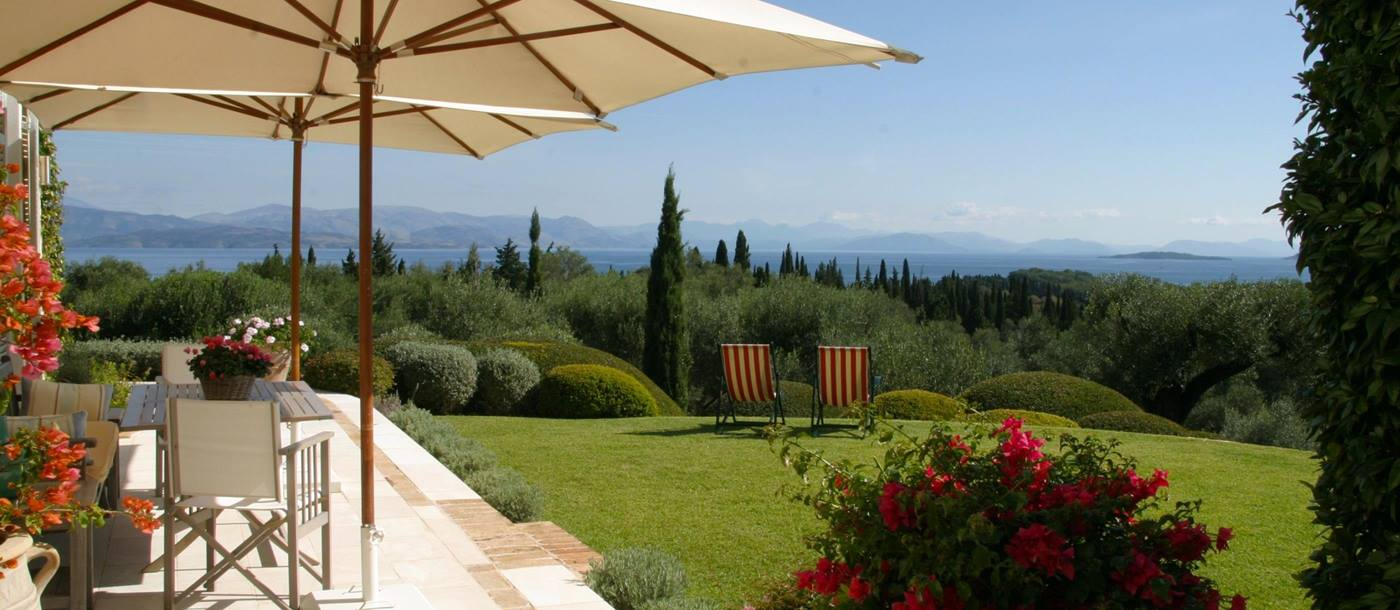 The gardens with a view from San Marco Estate, Greece