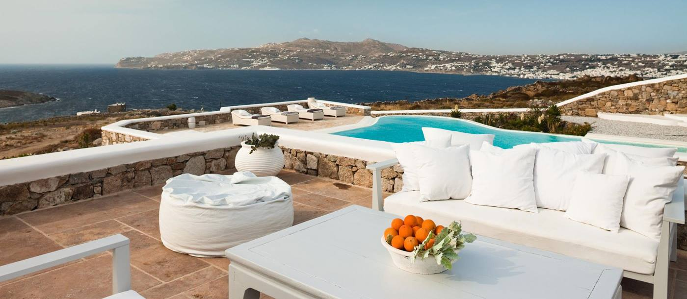 The terrace with outdoor seating at Villa Orpheus, Greece