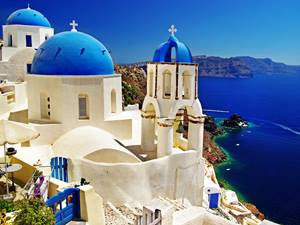 White and blue buildings on Santorini, Greece