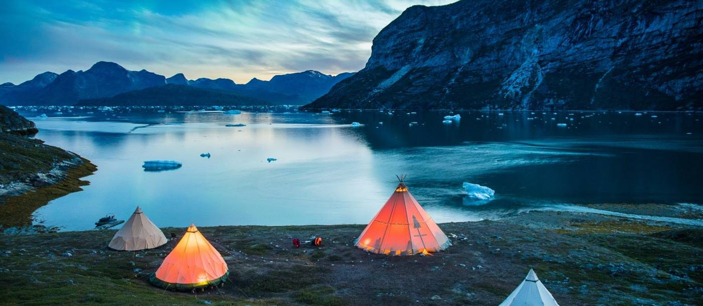 Camp Kiattua at night in Greenland