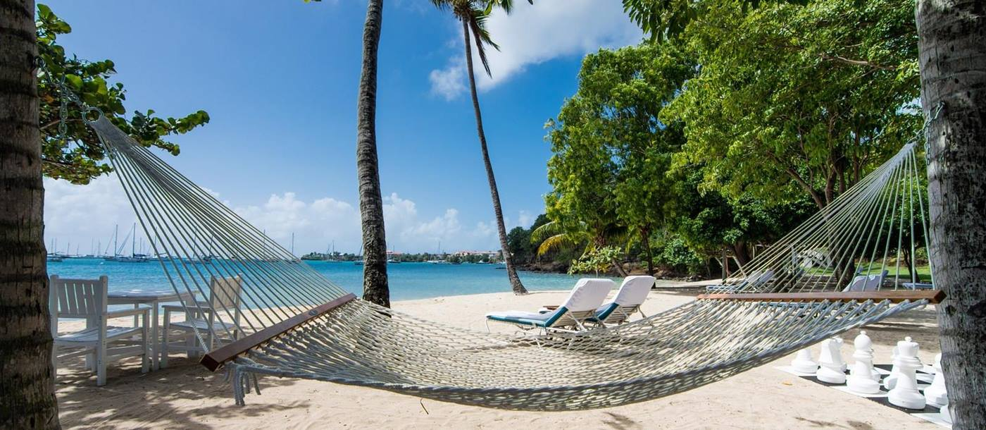 a hammock on the beach at Calabash Hotel, Grenada