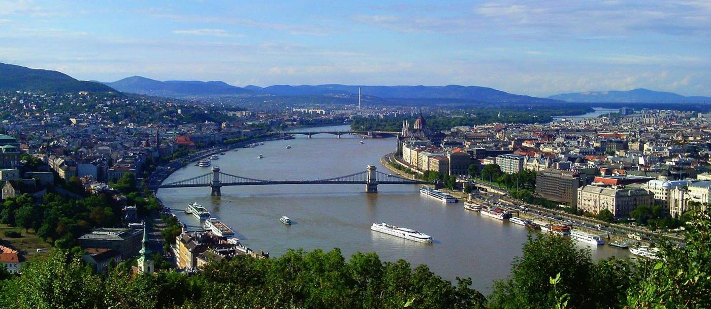 View of the River Danube in the summer in Budapest Hungary