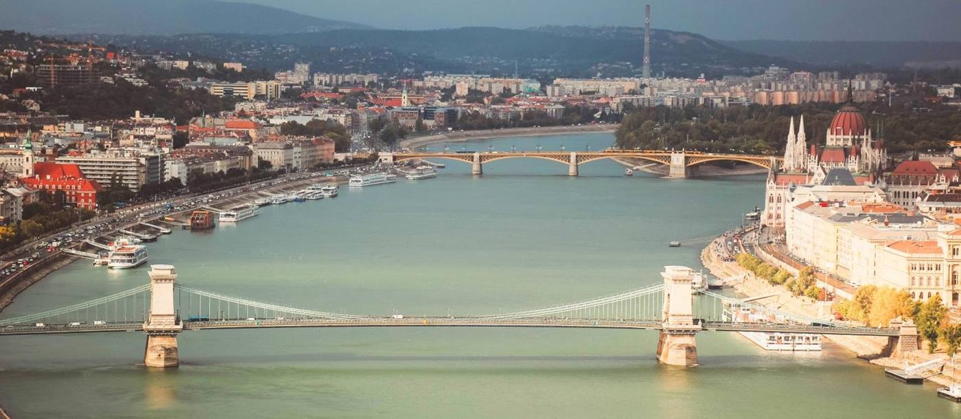 Bridge crossing the river in Budapest Hungary