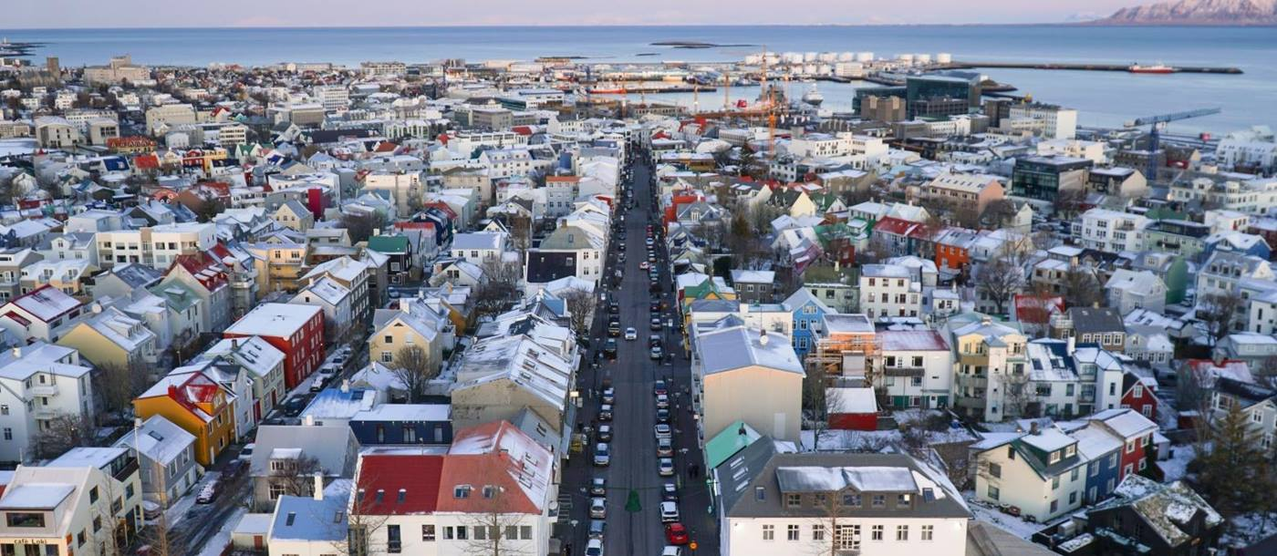 High view of Reykjavik in Iceland