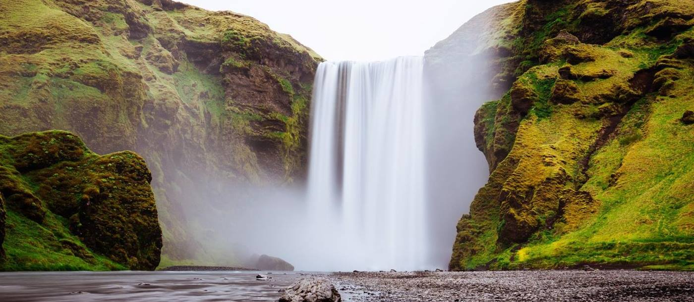 Skogafoss waterfall, one of the biggest waterfalls in the country, situated on the Skógá River in the south of Iceland