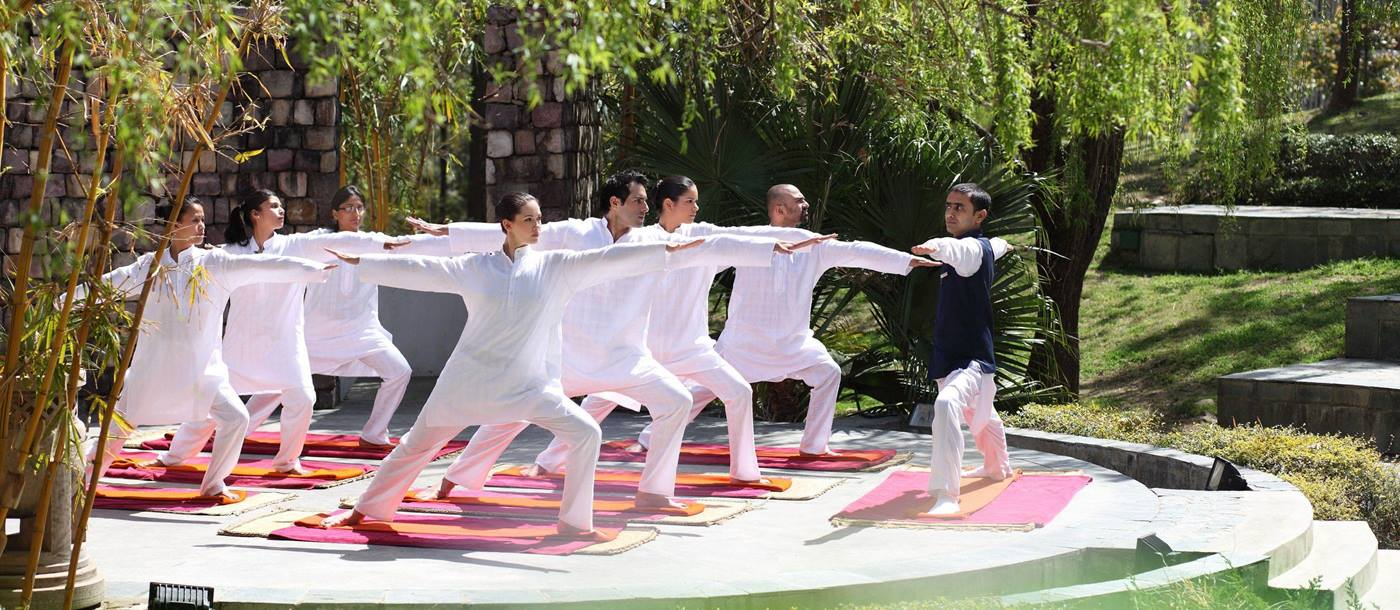 group yoga at Ananda, India