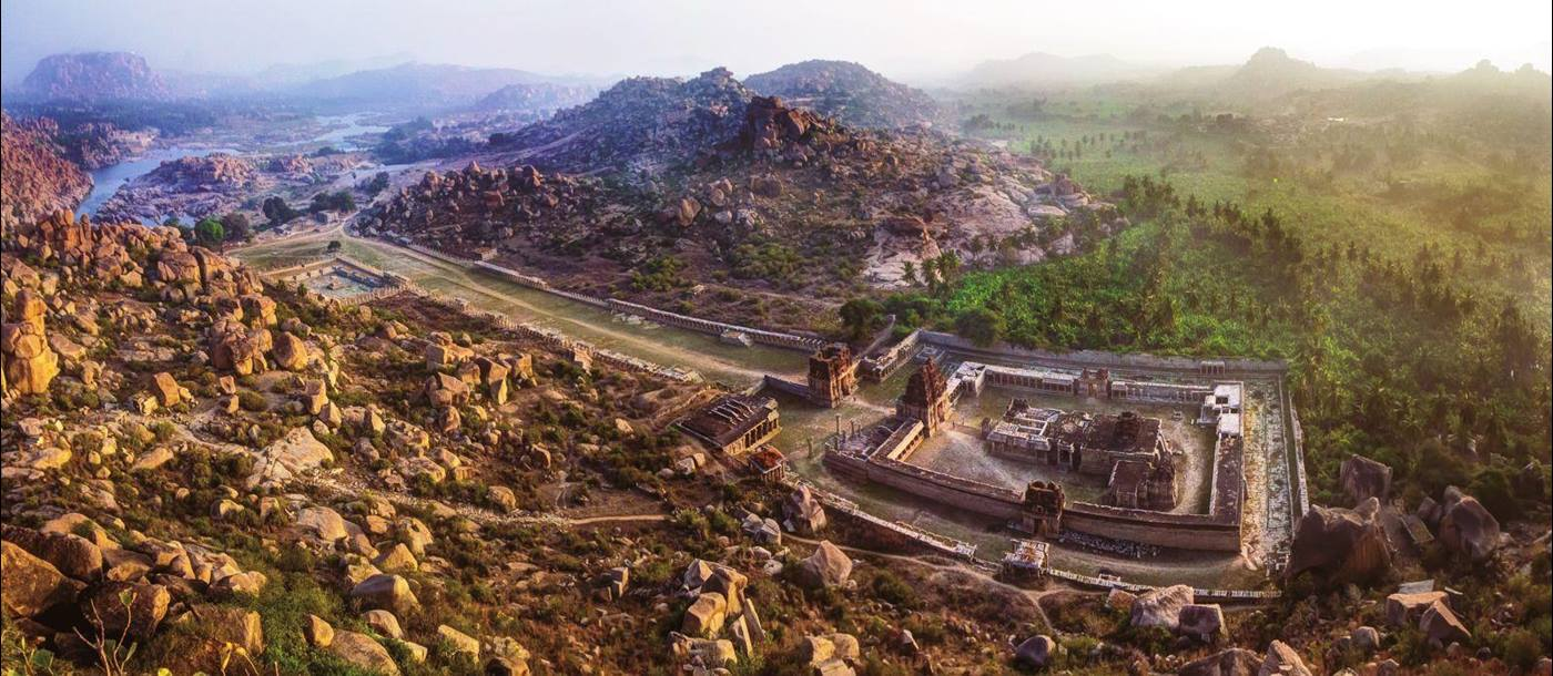 Aerial view of ruins at Hampi