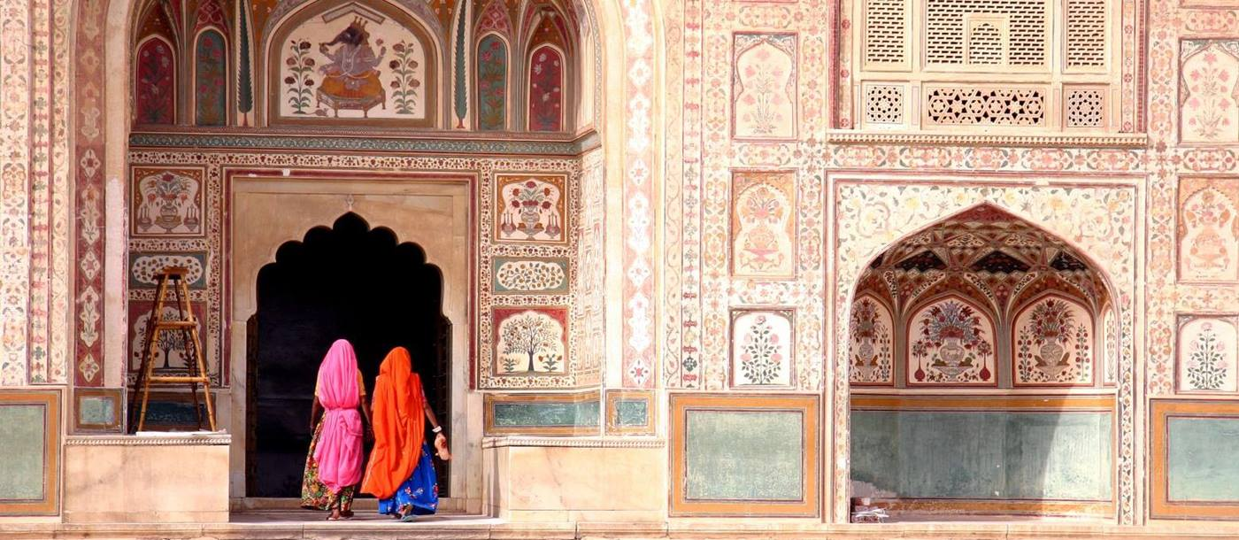 Ladies in traditional dress entering the Amber Fort in Jaipur