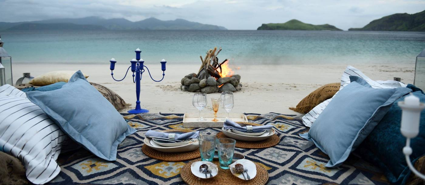 dining at the beach of Alexa, Indonesia