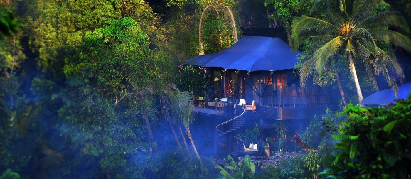 View of tent at Capella Ubud in Bali