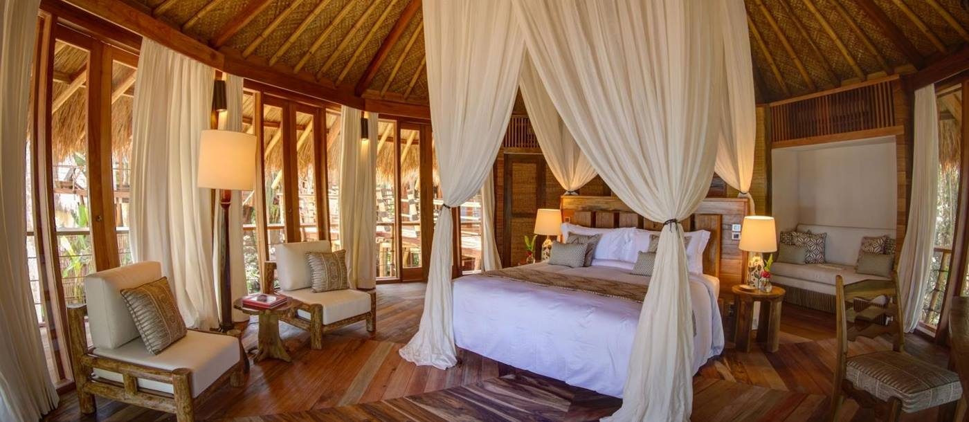 Double bedroom in Mamole villa at Nihiwatu, Indonesia