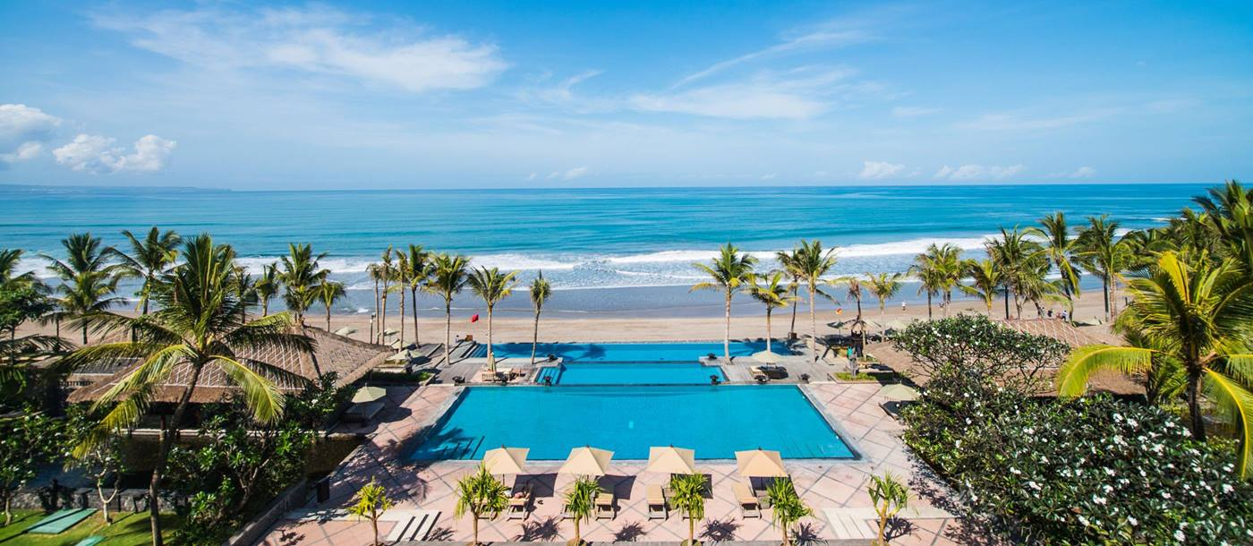 swimming pool at the beach of the legian, indonesia