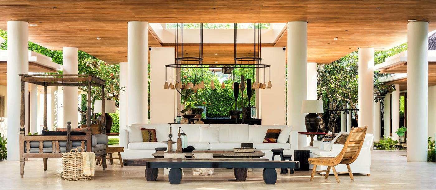 Symmetrical view of the outdoor living area at Uluwatu Estate, Bali