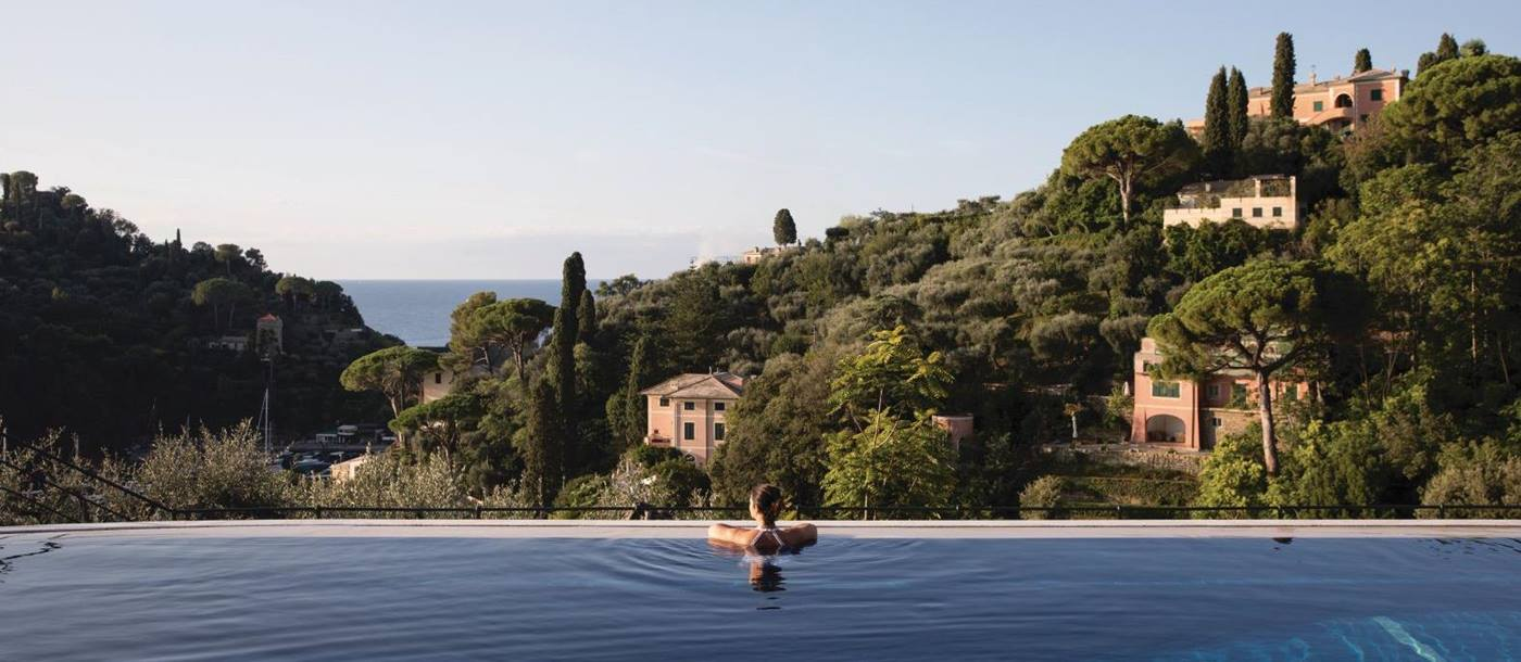 Swimming pool and views from Belmond Hotel Splendido Portofino Italy