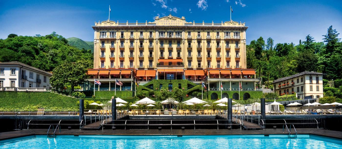 Facade and swimming pool of Grand Hotel Portovenere, Italy