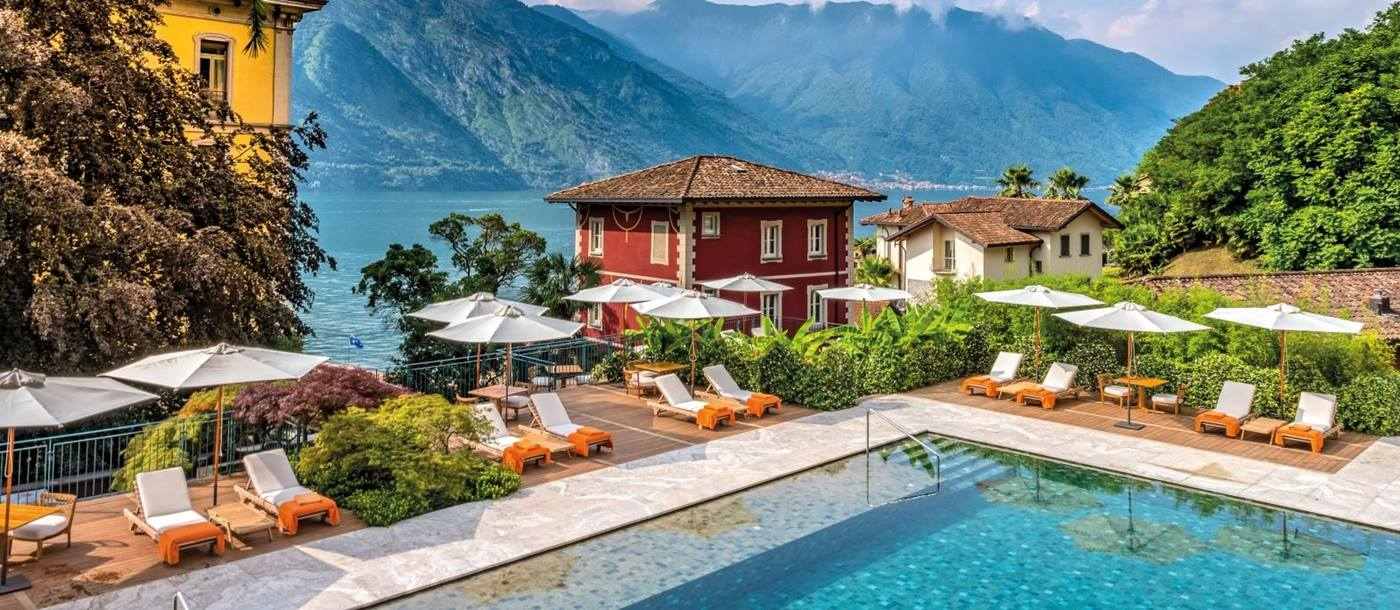 Pool view with Lake Como in background at Grand Hotel Tremezzo