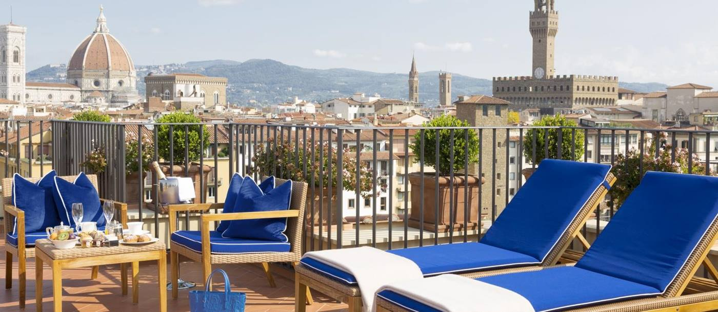 Rooftop terrace suite at Hotel Lungarno in Italy