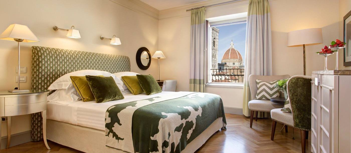 View on Duomo from a double bedroom in Hotel Savoy, Italy