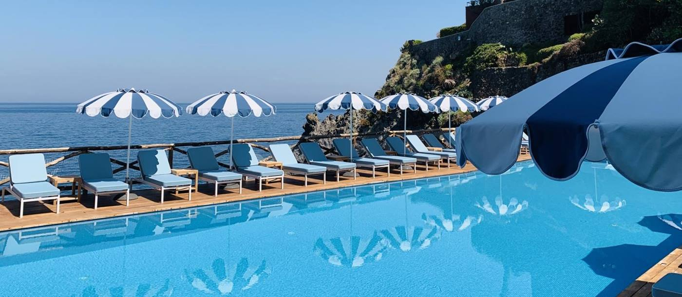 Swimming pool with view at Mezzatore in Italy