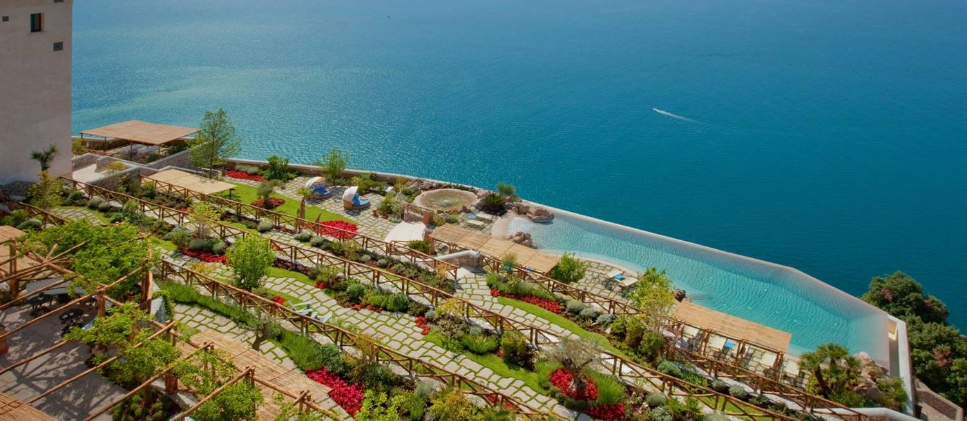 Grounds and swimming pool of Monastero Santa Rosa, Italy