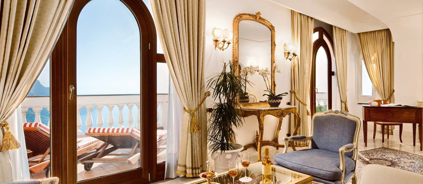 Double bedroom with sea view from Palazzo Avino, Italy