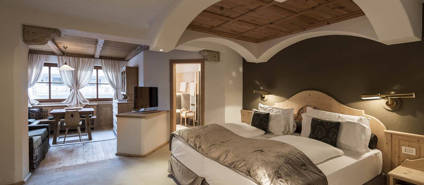 Double bedroom in Rosa Alpina, Italy