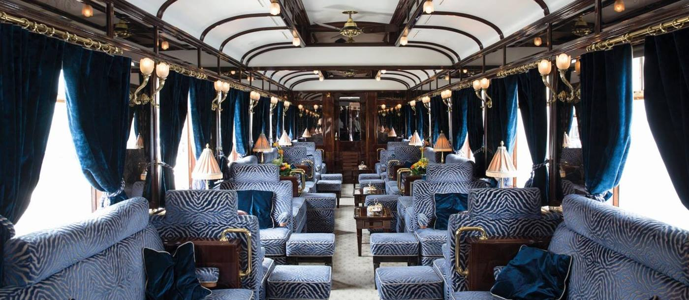 Interior of a carriage on board the Venice Simplon Orient Express train