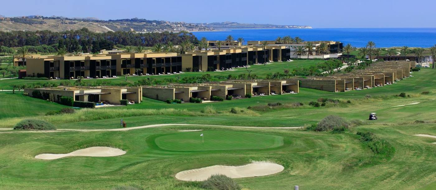 Distant view of the golf course at Verdura Resort in Italy
