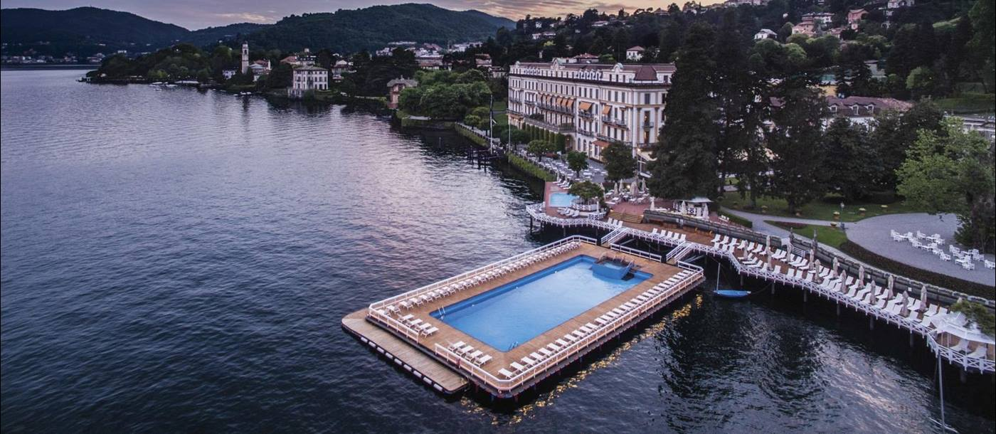 Aerial view of the floating pool at sundown at Villa D'Este on Lake Como Italy
