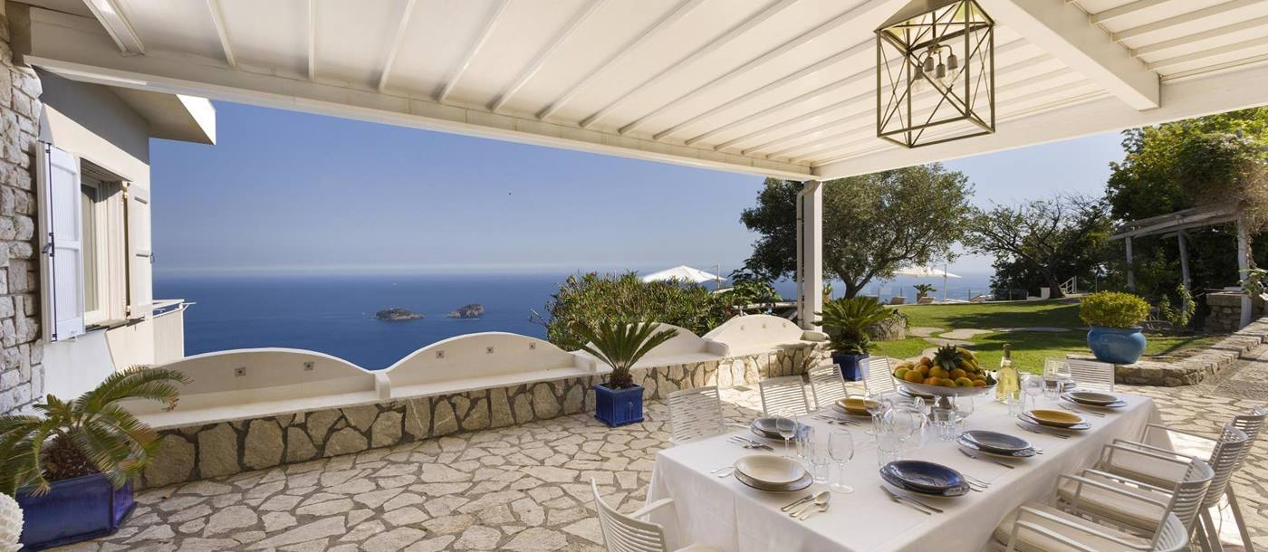 the outdoor terrace with covered roof at ensuite master bedroom in Villa li Galli, Amalfi Coast