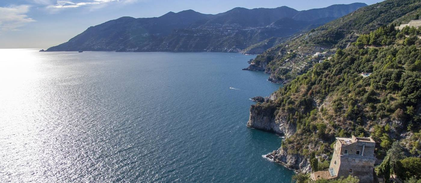 Aerial view of Villa Maiori on the Amalfi Coast, Italy