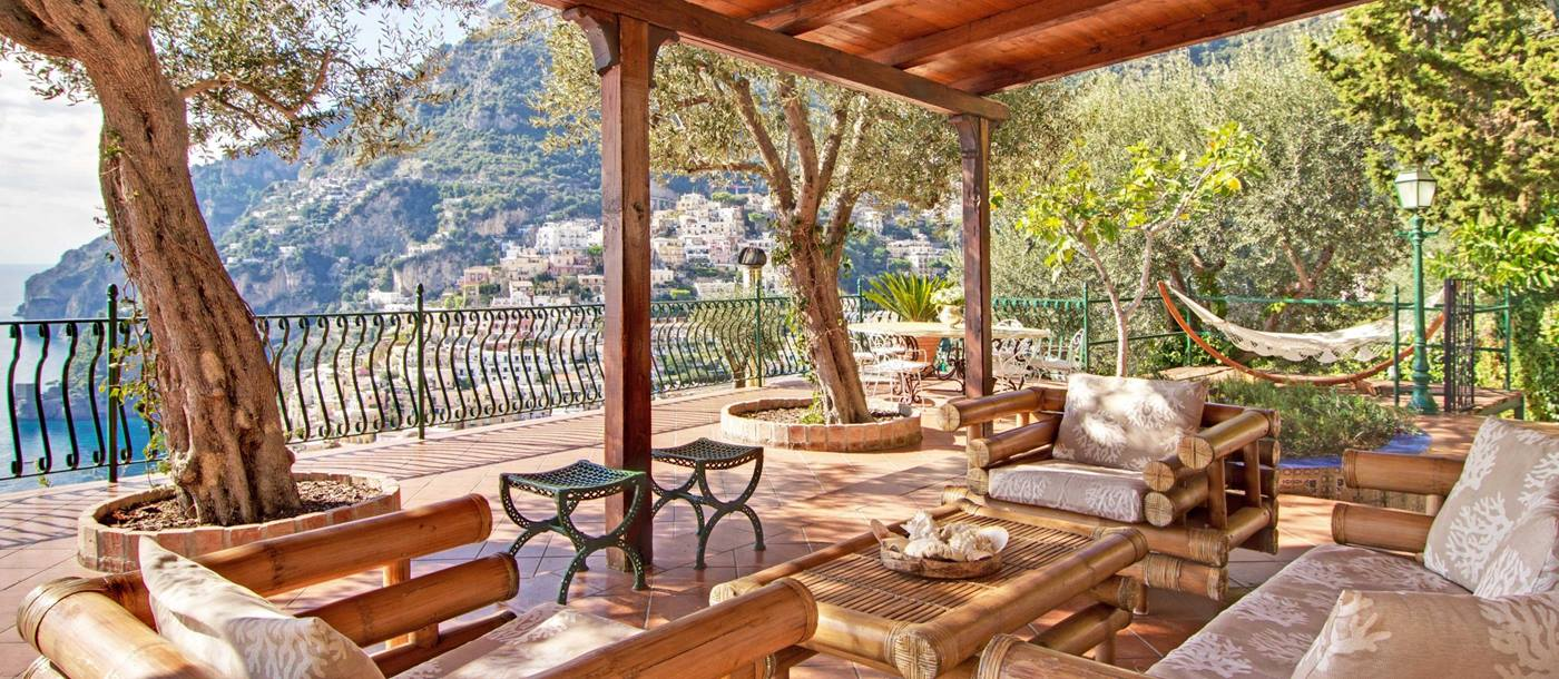 Covered terrace at Vilal Treville, Amalfi Coast