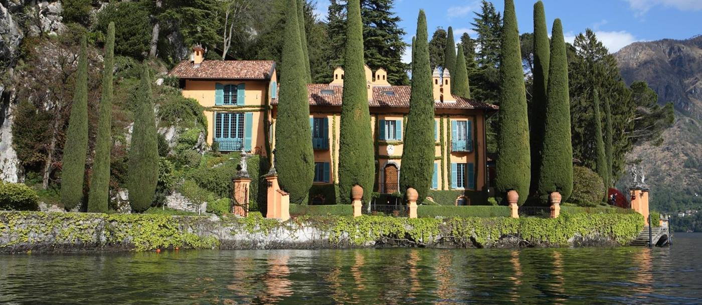 Facade and view from the lake at Villa la Cassinella, Lake Como