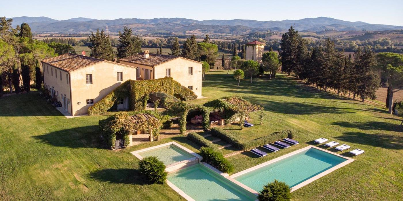 Aerial view with distant view at Il Serratone villa in Tuscany Italy