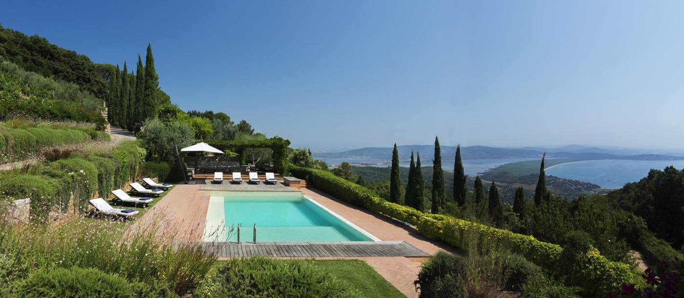 Swimming pool and view from La Feniglia, Tuscany