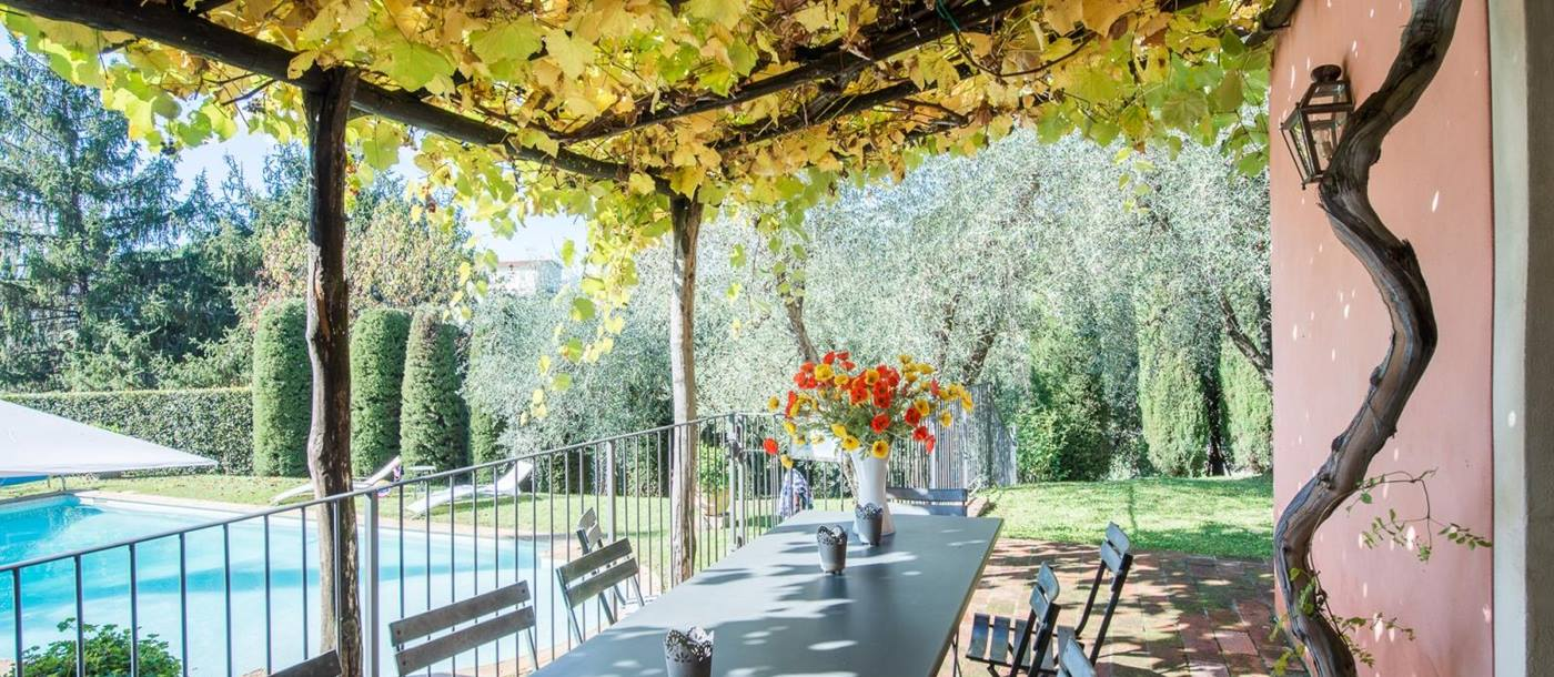 the outdoor dining table covered with vines at l'Antico Mulino, Tuscany