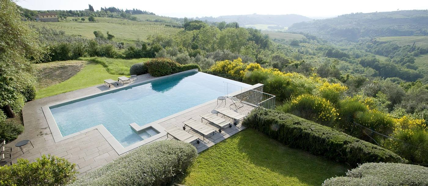 Swimming pool and view from Podere Barberino, Tuscany
