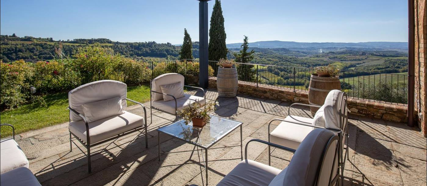 Terrace  at Torre del Santo villa in Tuscany Italy