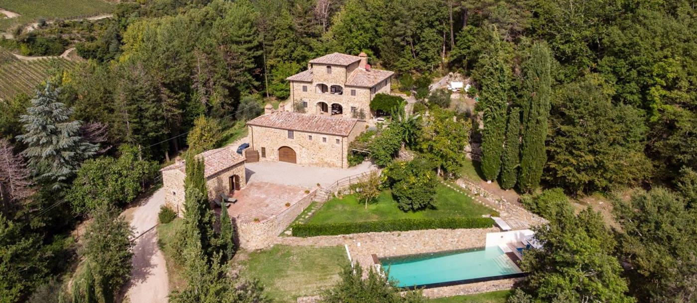 Aerial view of Villa Baciata in Tuscany Italy