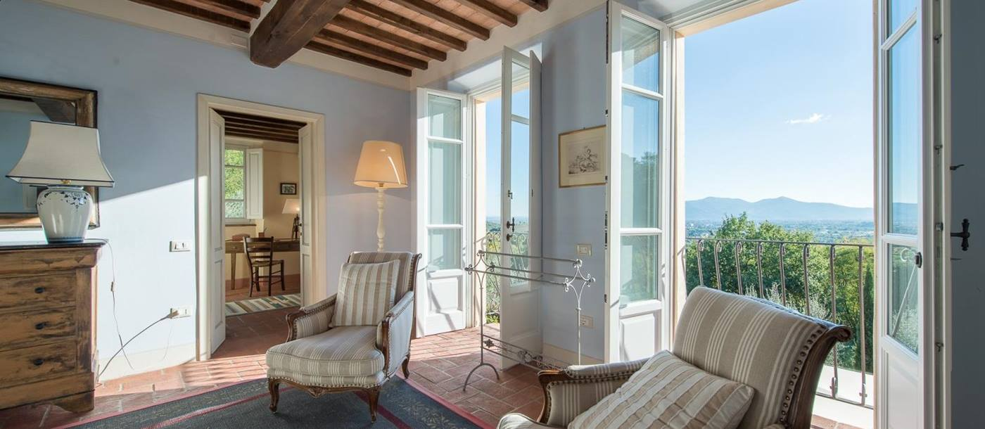 views from the master bedroom in Villa Barboleta, Tuscany